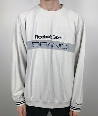Vintage 90s Reebok Marken Sweatshirt Pullover   Klassisch Sport RETRO   XL weiß   eBay