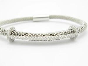 Platinum-Sterling-Silver-Diamond-Set-White-Sapphire-Mesh-Bangle-Bracelet-Gift