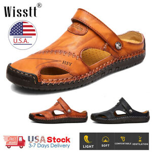 Mens-Brown-Leather-Safety-Closed-Toe-Outdoors-Sandals-Casual-Shoes-Size-8-12-US