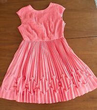 $298 Ted Baker TERNA TB Size 3/ US Size 8 Coral Pink Pleated Cocktail Dress