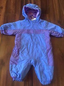 fdeecebe3b31 baby girls FIRST MOMENTS SNOWSUIT bunting FLEECE hood COAT warm BLUE ...