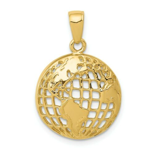 14k or Jaune Polish solide Concave Terre Globe Charm