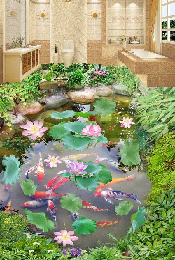 3D water fish flower 62 Floor WallPaper Murals Wall Print Decal 5D AJ WALLPAPER