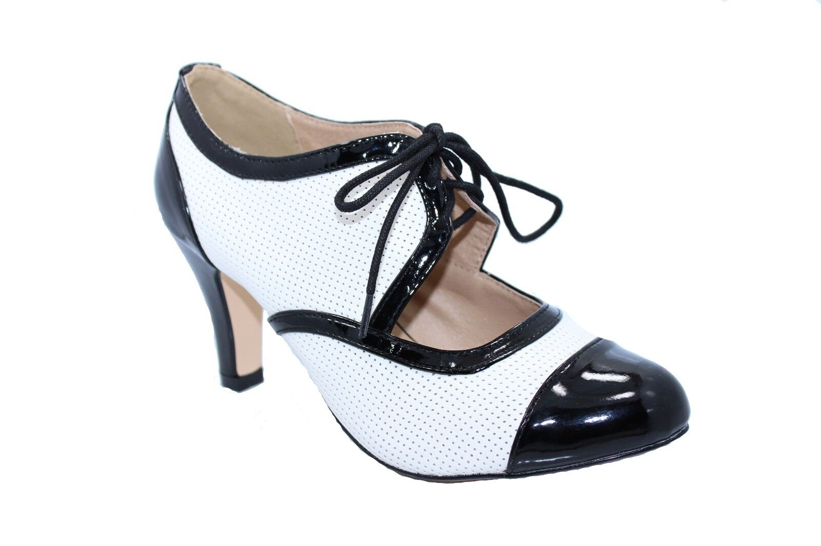 Chelsea Crew GALA Two Tone Oxford Heels with Patent Toe-Cap