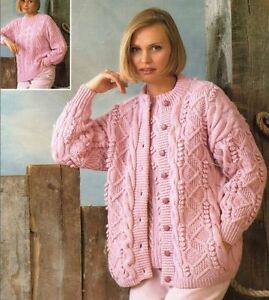 169b5322b Knitting Pattern Lady s Aran Cable Cardigan   DK Cable Sweater (56 ...