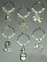 6 Winter Crystal Silver Wine Glass Charms Drink Markers Snowflake Snowman Hat