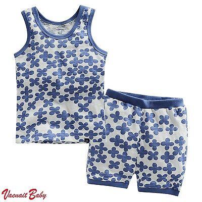 "2 Pcs NWT VaenaitBaby Toddler Kids Girl Boys Sleeveless Outfit Homewear ""Clover"""