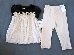 BONNIE-JEAN-TODDLER-GIRLS-SZ-18-24-MONTHS-IVORY-DRESS-LEGGINGS-2-PC-SET-NWT