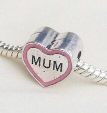 Silver Pink Enamel Mum Heart Charm Bead Birthday Gift Idea Fits Euro Bracelets