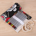 36 Colors Skull Patterned Roll-Up Stationery Brush Pen Pencil-Case Holder Pouch