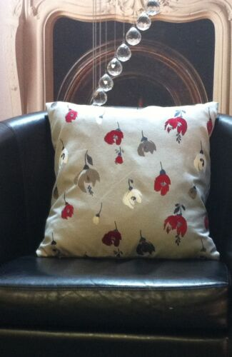 Light Grey with Red Floral Design Evans Lichfield Cushion Cover