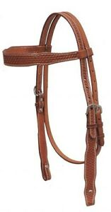 Showman-MEDIUM-OIL-Argentina-Cow-Leather-Basket-Weave-Tooled-Headstall-NEW-TACK