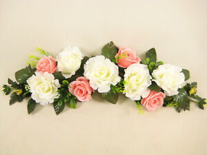 Artificial-Flowers-Two-Tone-Rose-Daisy-Swag-Slim-Table-Centrepiece-Wedding