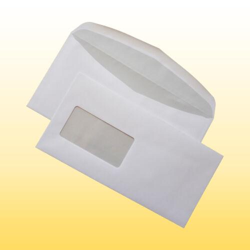 114 x 229 mm 1000 Briefumschläge mit Fenster 75g//m² nassklebend 110