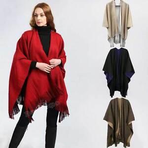 Womens Poncho Stole Cape Shrug Wrap Shawl Jacket Jumper Sweater Pom Pom On Sale