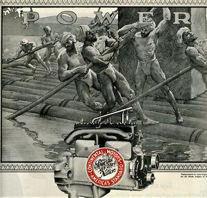 1920 Vtg Orig CONTINENTAL MOTORS Ad  GAY Interest. Muscular Men In Loin Cloths