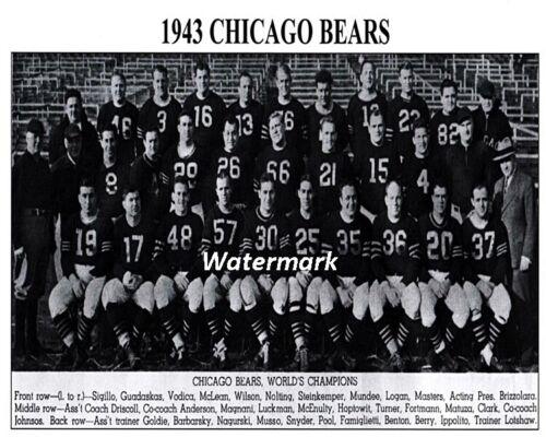 1943 NFL World Champions Chicago Bear Team Picture Black /& White 8 X 10 Photo