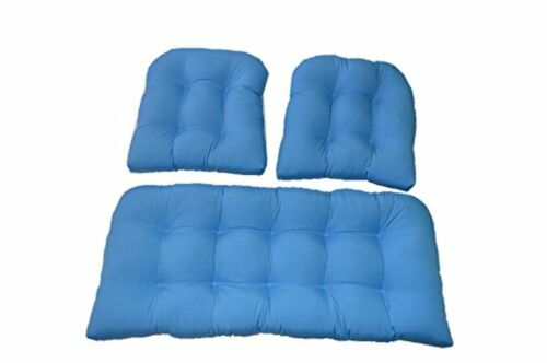 3 Piece Wicker Cushion Set Loveseat Settee /& 2 Chair Cushions Solid Pool Blue