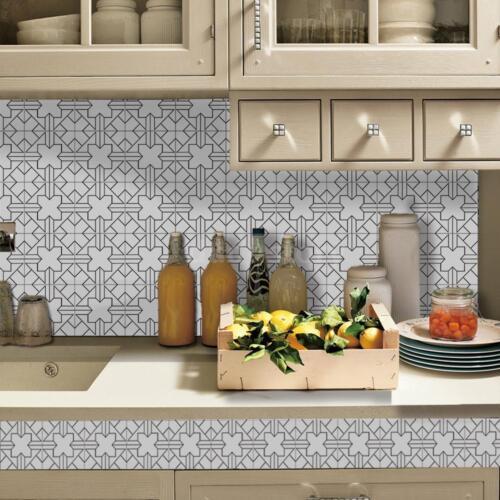 Home PVC Waterproof Self-adhesive 3D Tile Wallpaper Roll Wall Floor Sticker B9W1