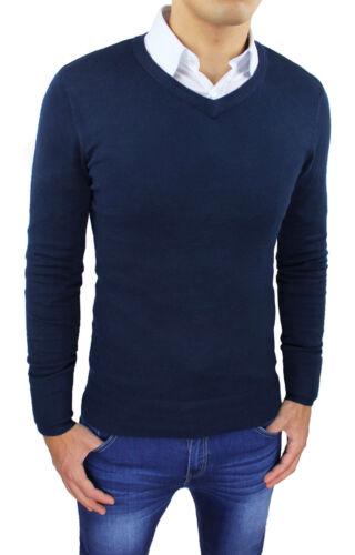 Sweater Pullover Man V Neck Dark Blue Slim Fit Tight Autumn Winter