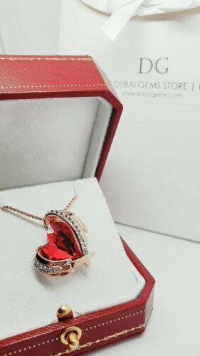 Acabado De Oro Rosa Ruby Heart y creado Diamante Colgante Collar Idea de Regalo