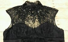 BEBE Med. Lace Bead Black Lace Blouse Gothic Victorian Witch High Collar Shirt