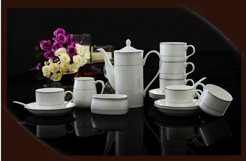 European Style Fresh Fashion Noble Ceramics Coffee Cup Tea Pot 15 Pieces Set I-1
