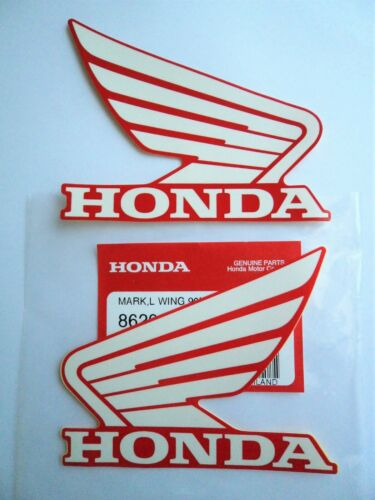 Honda Fuel Tank Wing Decal Wings Sticker x 2 WHITE RED 93MM X 75MM