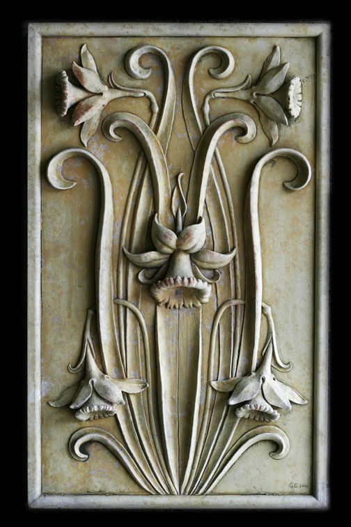 Daffodils Flowers Decorative Wall Wall Wall Relief Sculpture Plaque 7075c1