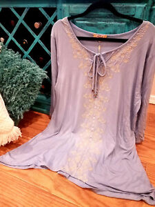 NWT-Embroidered-Paisley-Peasant-Boho-Tunic-Dress-Top-Festival-T-Shirt-PLUS-SIZE