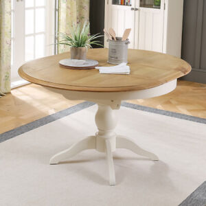 best service 8b8a4 c9480 Details about Chatsworth Cream Painted Round Extending Dining Table - 4 to  6 Seater - CTR21