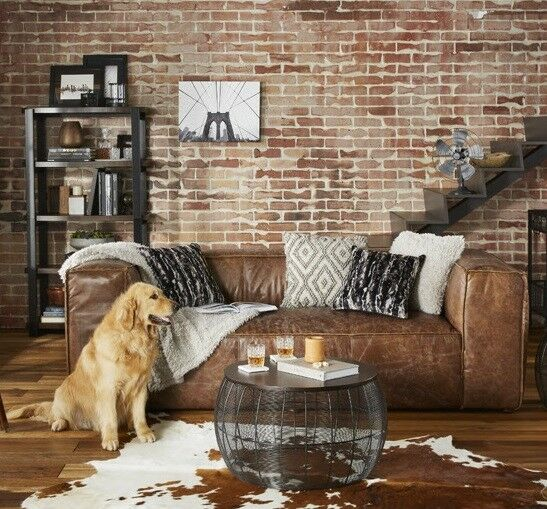Retro Brown Top Grain Leather Sofa Couch Living Room Furniture Vintage  Bohemian