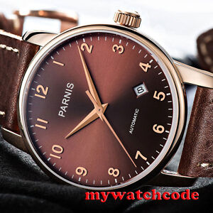 3b14286e6 38mm Parnis coffee dial rose golden case Sapphire glass Automatic ...