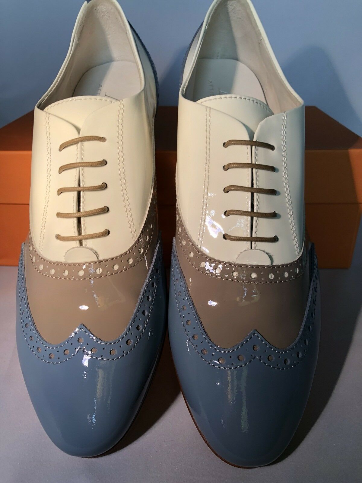 WOMEN'S AGL NEW    TRI COLOR PATENT LEATHER LEATHER PATENT OXFORD Schuhe ITALY SIZE 40 NIB be83f8