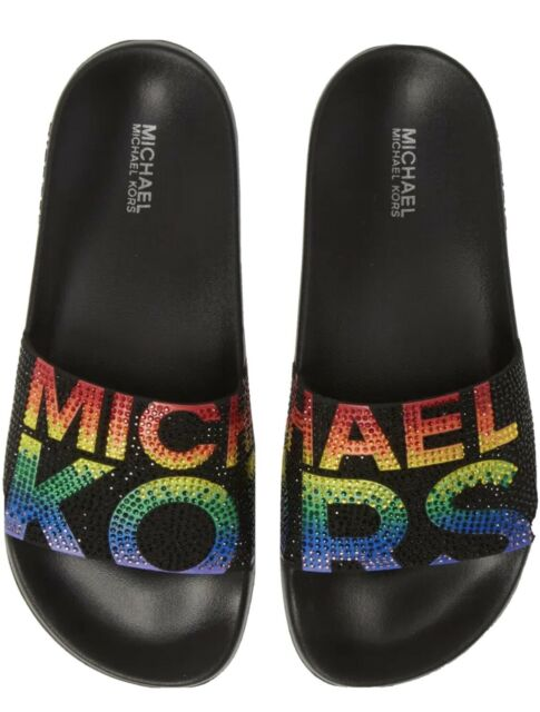 MICHAEL KORS Gilmore Logo Rhinestone Slide Sandals Women's 7 Black + Rainbow