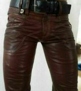 Men/'s Real Leather Bikers Pants Double Zips Bluf Pants WITH WITHOUT Back Zip