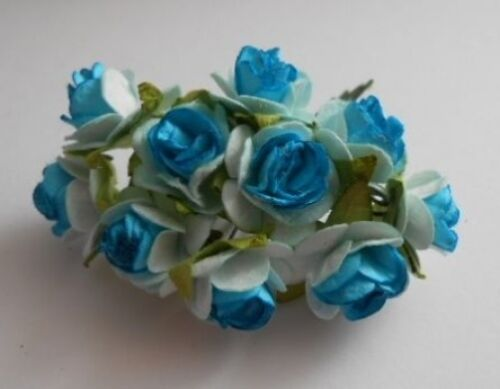 PACK 10 OPEN TURQUOISE BLUE ROSES FOR CARDS AND CRAFTS