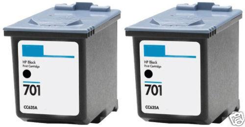 2Pk HP 701 Black Ink Cartridge CC635A HP701 for Fax 640 650 2140