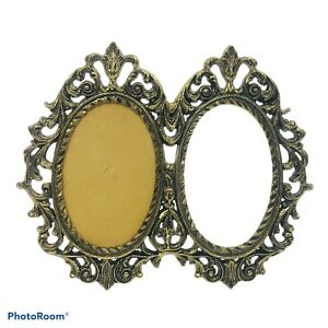 Vintage-Metal-Gold-Tone-Double-Oval-Victorian-Ornate-Photo-Picture-Frame