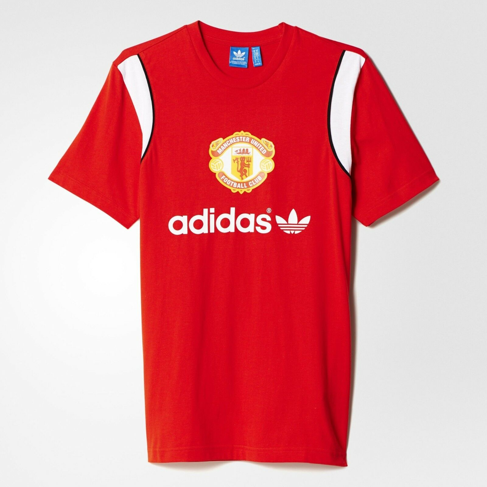 ADIDAS Originals M Manchester United Rosso T shirt Taglia UK