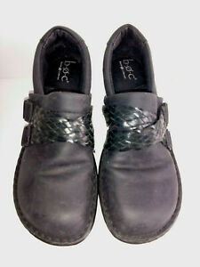 Shoes-BOC-Born-Concept-Womens-Slip-Ons-Size-7M-7-Medium-Black-Leather-Uppers
