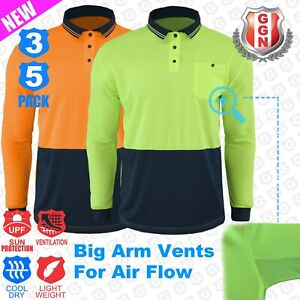 HI-VIS-Polo-Shirts-3-5-Pack-Arm-Vents-Safety-Workwear-Cool-Dry-LONG-SLEEVE