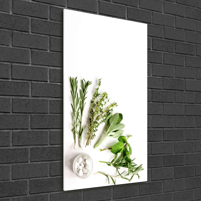 Wand-Bild Kunstdruck aus Hart-Glas Hochformat 50x100 Kräuter