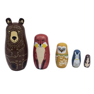 5pcs Bears Wooden Russian Nesting Dolls Babushka Matryoshka Dolls Toy Gifts