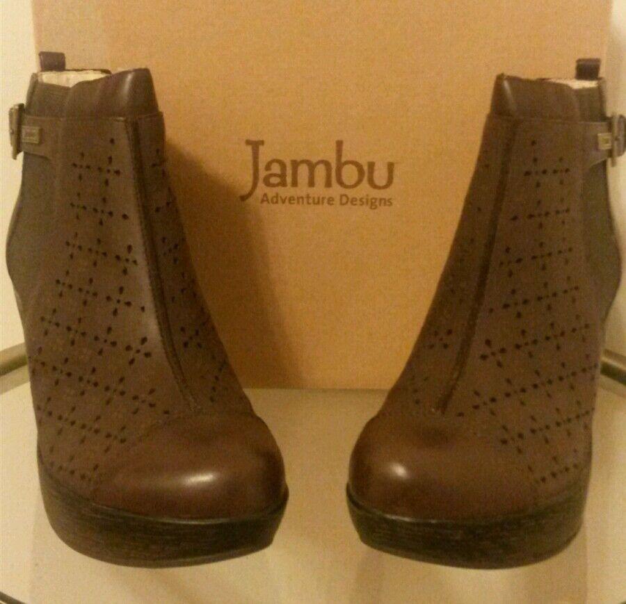 Jambu Leather Laser Cut Floral Design Wedge Ankle Boots Brown Size 8.5M, NIB