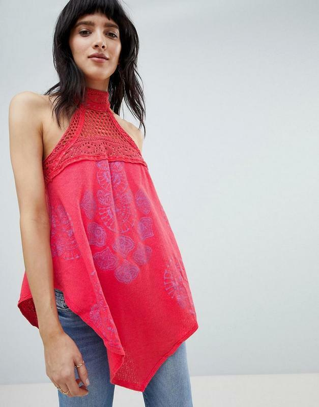 Free People NWT Size Small Mandolin Printed Crochet Tank NEW Coral Top