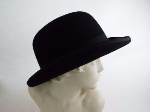 NUOVO Uomo lana feltro nero Bowler Derby Cappello formale S M L XL