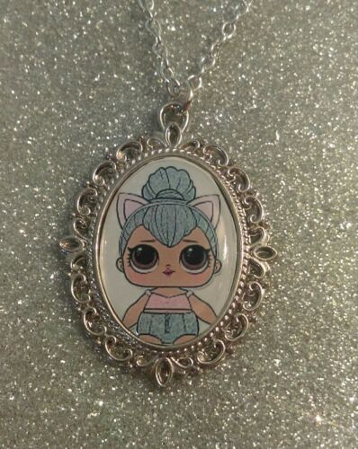 Silver Charm Necklace Pendant LOL L.O.L Doll Kitty Queen