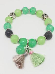 Bracelet-Bijoux-femme-Fantaisie-Vert-clair-Pompon-Perle-amp-bouddha-NEUF-ref-18