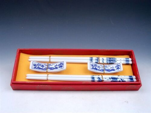 Gift Set 2 Pairs Blue/&White Porcelain Scenery Painted Chopsticks w// 2 Holders